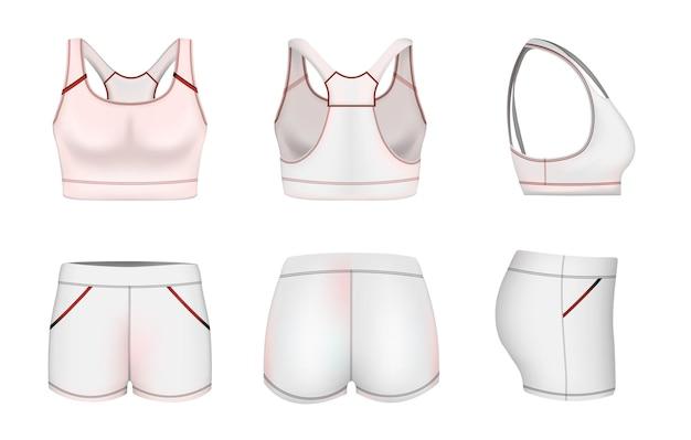 Mulheres brancas esportes sutiã cultura top shorts maquete conjunto ilustração vetorial sportswear moda treinamento cl ...