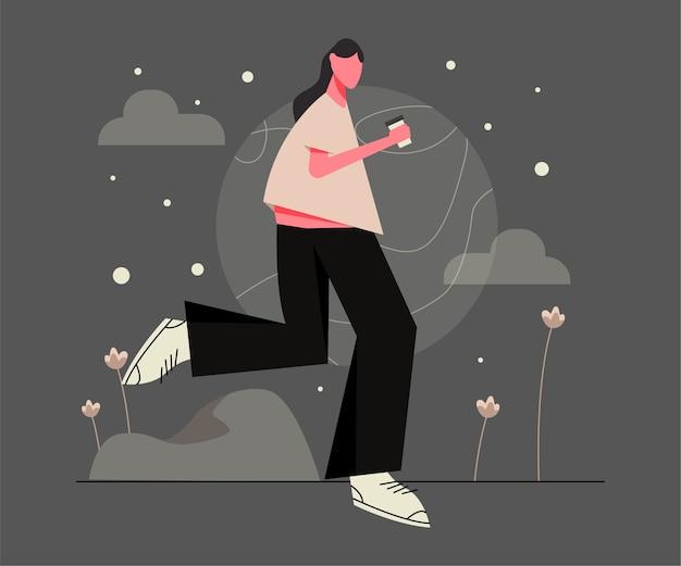 Mulheres caminhando e segurando café