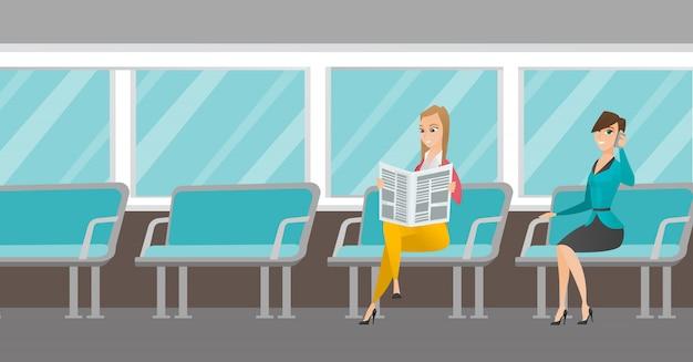 Mulheres caucasianas viajando de transporte público.