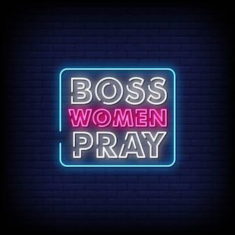 Mulheres chefe rezam sinais néon estilo texto