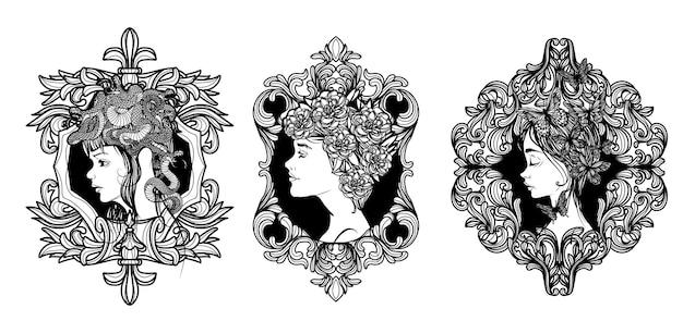 Mulheres com arte de tatuagem definidas e mão de flores desenhando e esboçando em preto e branco