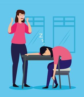 Mulheres com ataque de estresse e outra mulher dormindo no local de trabalho