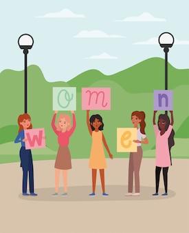 Mulheres com banners no parque