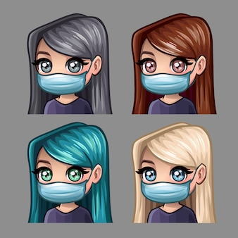 Mulheres com cabelos longos na máscara médica