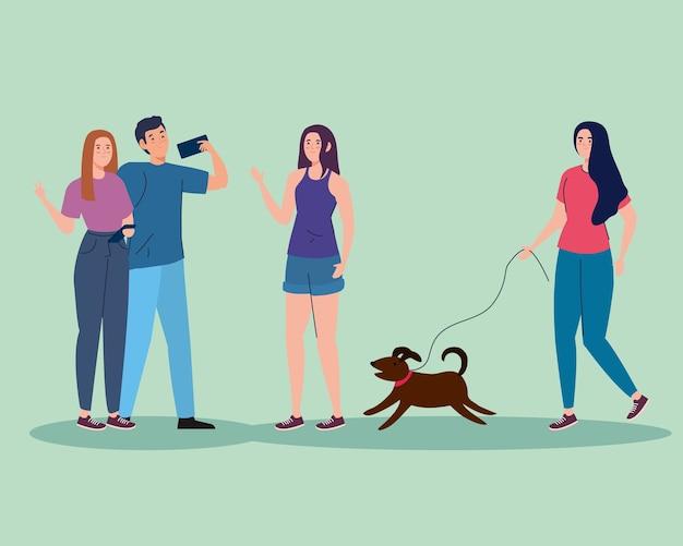 Mulheres com cachorro e casal tomando selfie design, tema de atividade ao ar livre.