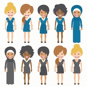 Mulheres com coleção vestidos diferentes
