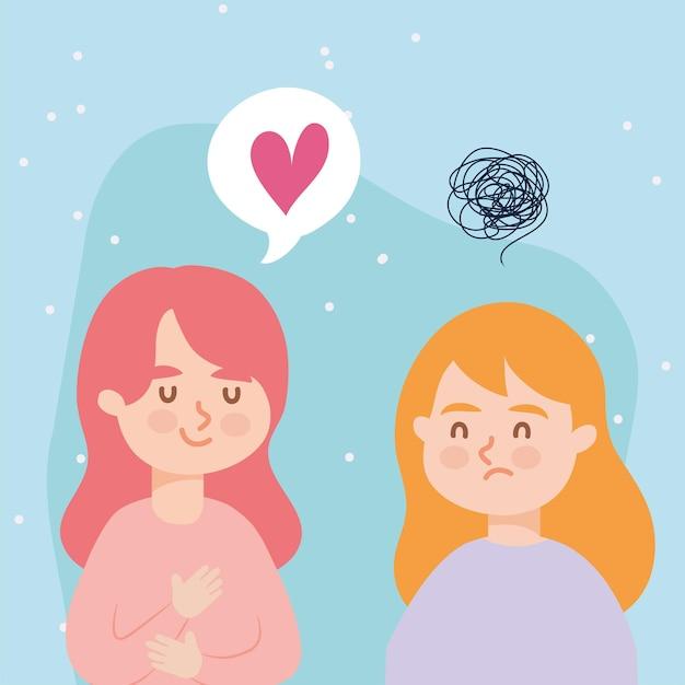 Mulheres com coração e depressão da terapia virtual