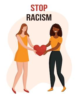 Mulheres com cores de pele diferentes sustentam o coração o conceito de unidade anti-racismo de diferentes raças