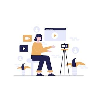 Mulheres com design de ilustração plana de câmera