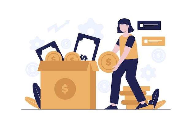 Mulheres com design de ilustração plana de investimento