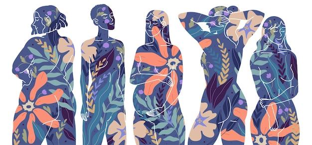 Mulheres com diferentes tipos de figuras, beleza feminina de corpo e alma.