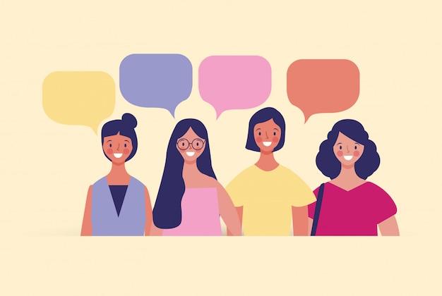 Mulheres, com, em branco, fala, bolha
