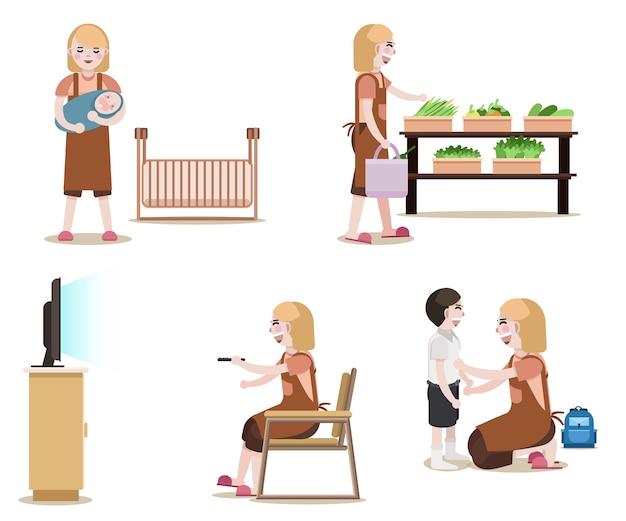 Mulheres com equipamento de limpeza isolado vector