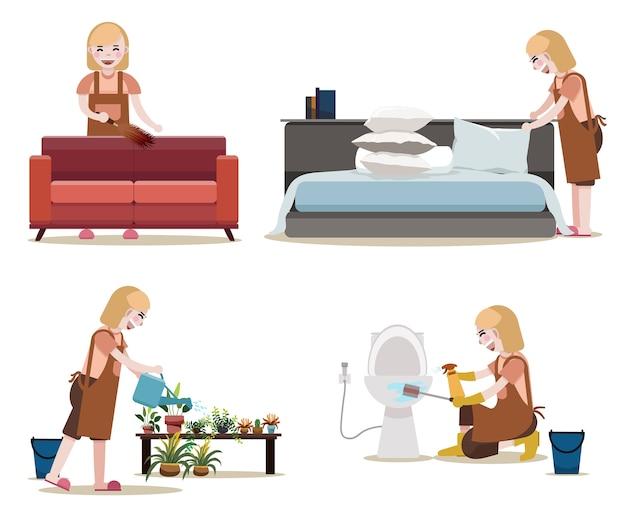 Mulheres com equipamentos de limpeza