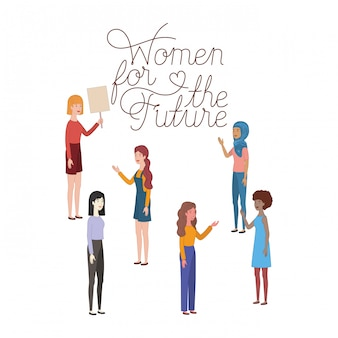 Mulheres, com, etiqueta mulheres, para, a, futuro, personagem