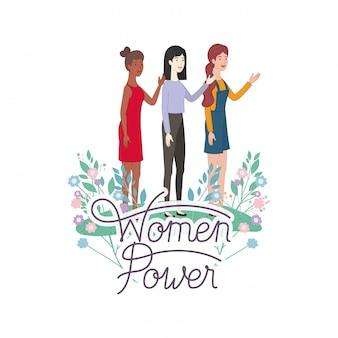 Mulheres, com, etiqueta, mulheres, poder, avatar, personagem