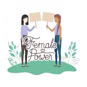 Mulheres, com, etiqueta, poder feminino, personagem