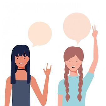 Mulheres, com, fala, bolha, avatar, personagem