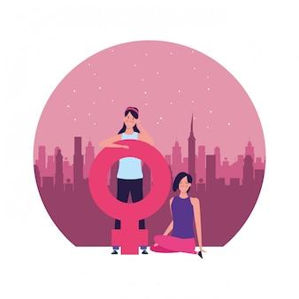 Mulheres, com, femininas, símbolo, redondo, ilustração