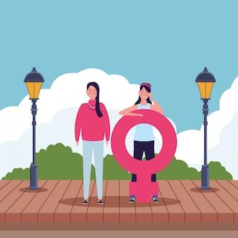 Mulheres, com, femininas, símbolo