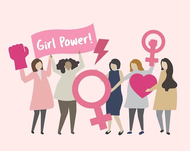 Mulheres, com, feminismo, e, menina, poder, ilustração