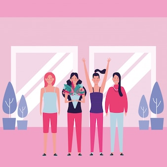 Mulheres, com, flor, e, mãos cima
