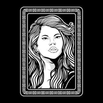 Mulheres com ilustração de cabelos longos