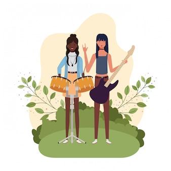 Mulheres, com, instrumentos musicais, e, paisagem