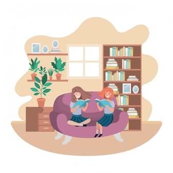 Mulheres, com, livro, em, livingroom, avatar, personagem