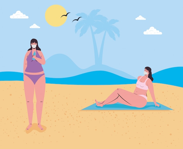Mulheres com maiô vestindo máscara médica na praia, turismo com coronavírus, prevenção covid 19 na temporada de verão