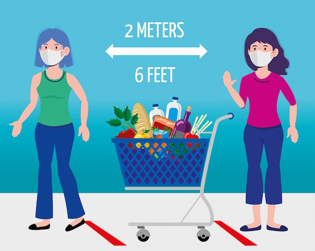 Mulheres com máscara e compras de alimentos