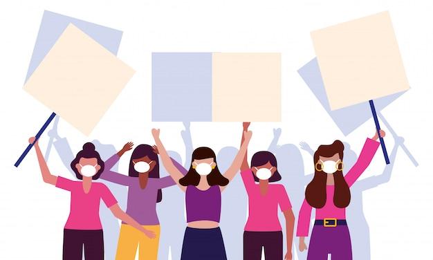 Mulheres com máscaras médicas e placas de banners