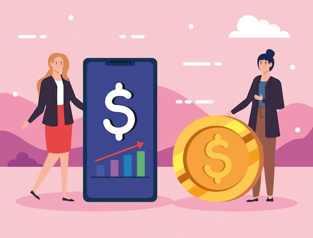Mulheres com moeda e smartphone