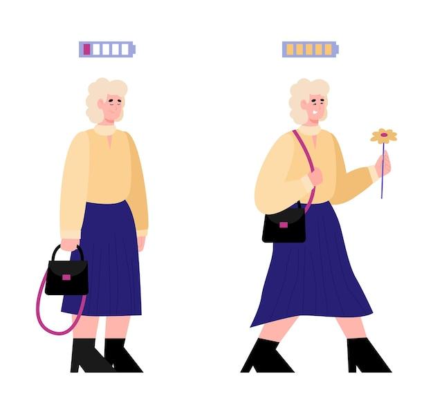 Mulheres com níveis de energia mostrados na ilustração de baterias descarregadas