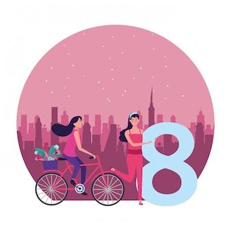 Mulheres, com, oito, e, bicicleta, redondo, ilustração