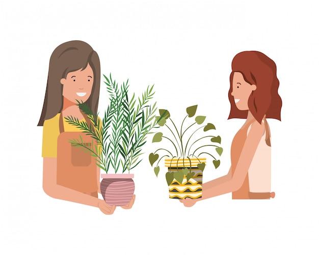 Mulheres com personagem de avatar de planta de casa