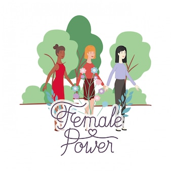Mulheres com personagem de avatar de poder feminino de rótulo