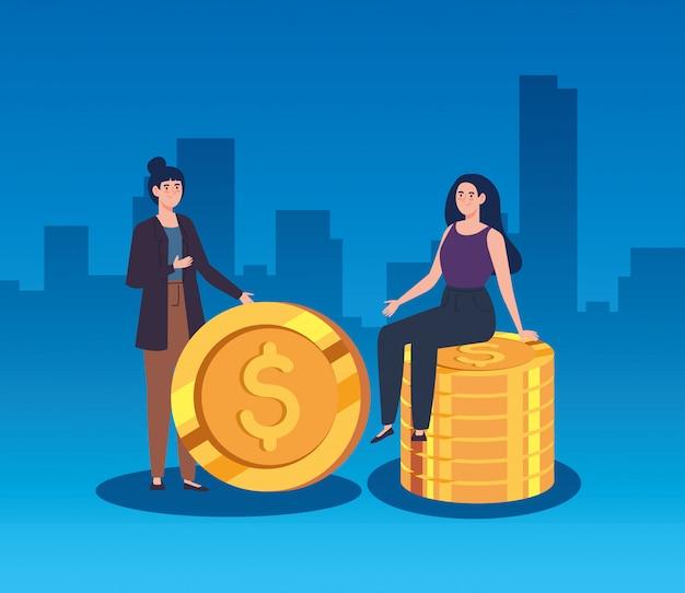 Mulheres com pilha de moedas