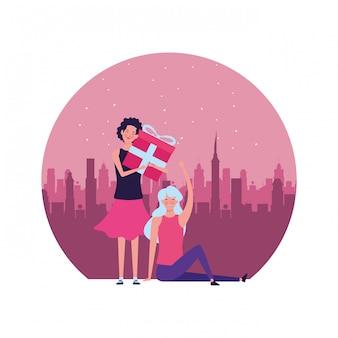 Mulheres, com, presente, redondo, ilustração