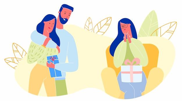 Mulheres com presentes feliz dia das mães