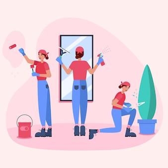 Mulheres com profissões de renovação trabalhando