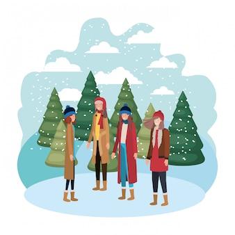 Mulheres com roupas de inverno e inverno pinheiros avatar personagem