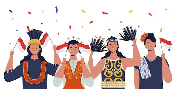Mulheres com roupas tradicionais comemoram o dia da independência da indonésia