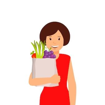 Mulheres com saco de frutas e legumes clipart