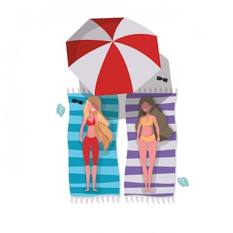 Mulheres, com, swimsuit, sunbathing, personagem
