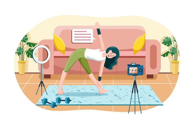 Mulheres com transmissão ao vivo de exercícios físicos em casa
