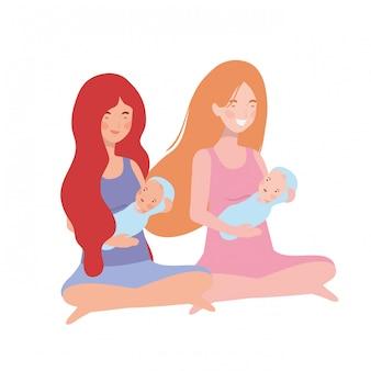 Mulheres, com, um, bebê recém-nascido, em, dela, braços