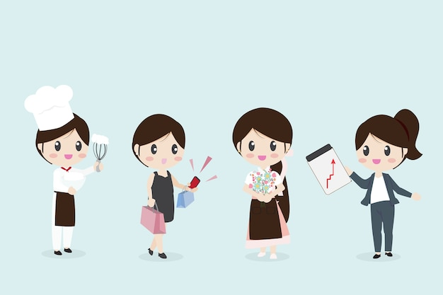 Mulheres, com, vário, ocupação, negócio, cozinheiro