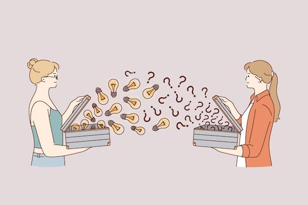 Mulheres compartilhando ilustração de novas ideias