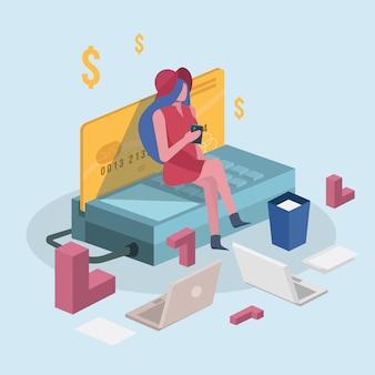 Mulheres comprando com cartão de crédito